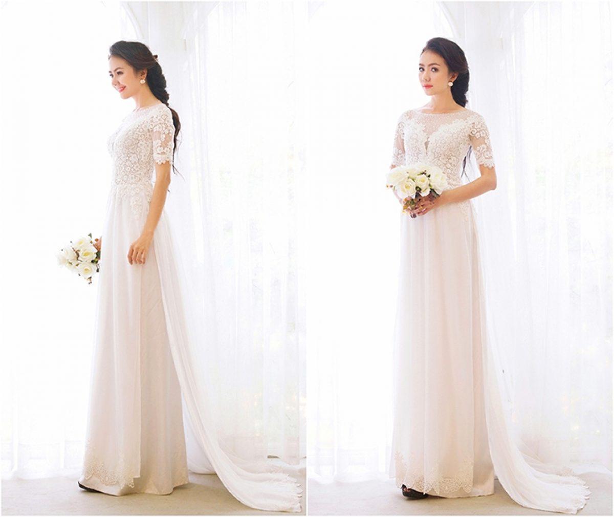 Áo dài cưới trắng