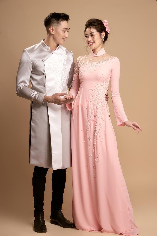 Áo dài cưới màu tương đồng