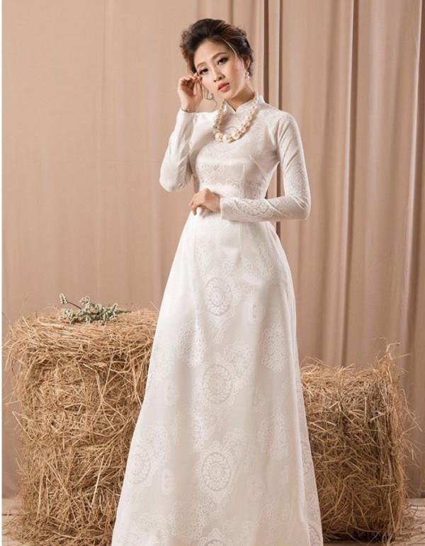 áo dài cưới truyền thống trắng