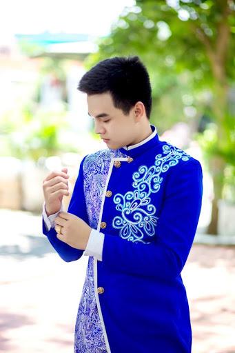 áo dài cưới nam xanh dương