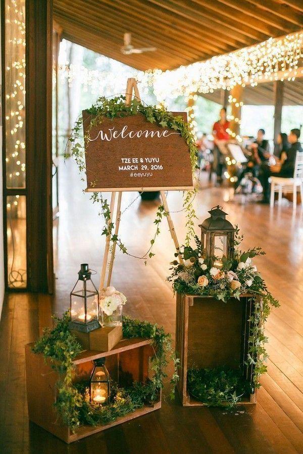 Bảng đón khách của tiệc cưới phong cách Rustic Marry