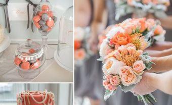 Theme cưới đẹp tông cam đào kết hợp xám tro thanh lịch - Blog Marry