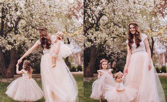 """Bộ ảnh váy phù dâu cho bé gái """"tông xuyệt tông"""" với cô dâu - Blog Marry"""
