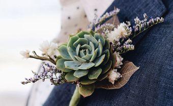 Hoa cài áo chú rể bằng sen đá - ước nguyện cho tình yêu bất diệt - Blog Marry