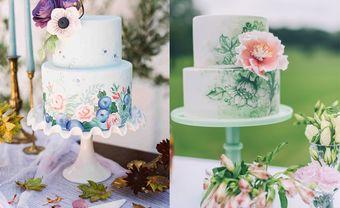 20 mẫu bánh cưới vẽ tay họa tiết hoa cỏ đẹp mê hồn - Blog Marry