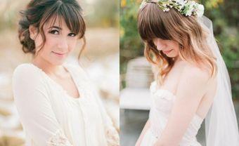 16 kiểu tóc cô dâu có mái đẹp lộng lẫy như nữ thần - Blog Marry