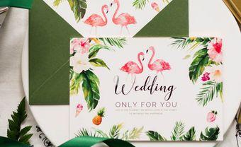 Thiệp cưới hồng hạc xinh xắn ngọt ngào - Blog Marry