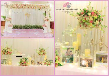 Combo bàn Gallery & Backdrop tông hồng nhạt Pastel - Tự Trang Trí Đám Cưới - Hình 1