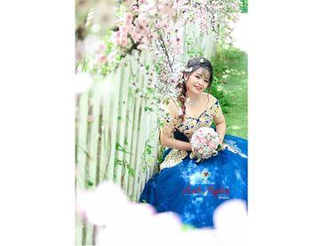 Áo cưới xanh ren vàng đồng - Áo cưới bigsize - Ánh Ngân - Hình 1