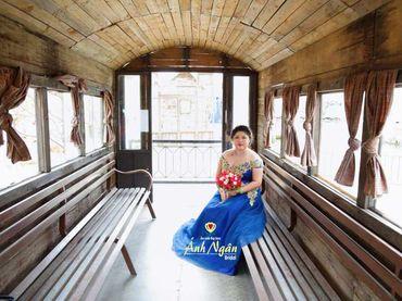 Áo cưới xanh ren vàng đồng - Áo cưới bigsize - Ánh Ngân - Hình 3