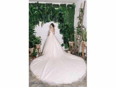 Váy cưới dáng A đuôi dài màu nude - Caroll Trần Design - Hình 3