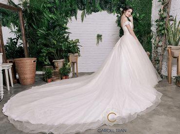 Váy cưới dáng A đuôi dài màu nude - Caroll Trần Design - Hình 1