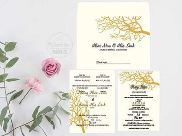 Thiệp hoạ tiết in hoa - Thiệp cưới Thanh Trúc - Thiệp Cưới Thiên Ân - Hình 6
