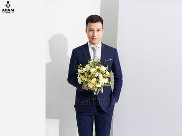Vest cưới xanh kẻ chỉ tím - Adam Store - Hình 1