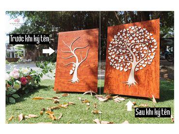 Tranh gỗ ký tên lưu niệm mẫu cây hạnh phúc - Tự Trang Trí Đám Cưới - Hình 1
