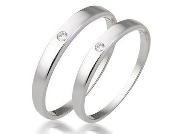 Bộ nhẫn cưới PNJ chung đôi vàng trắng 14K đính kim cương - Vàng bạc đá quý Phú Nhuận - PNJ - Hình 2