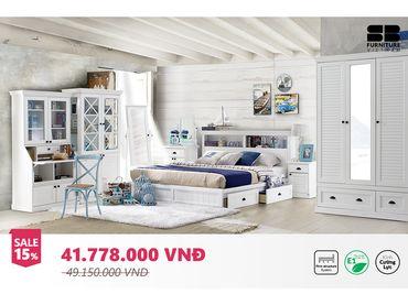 Phòng ngủ Mahony Vintage trắng - SB Furniture - Hình 1