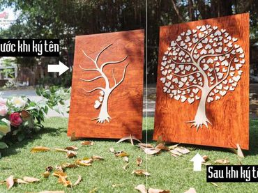Tranh gỗ ký tên lưu niệm mẫu cây hạnh phúc - Tự Trang Trí Đám Cưới - Hình 2