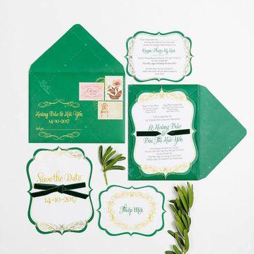 Thiệp cưới xanh ngát- Xu hướng 2018 - Lubi Wedding Paper - Hình 1