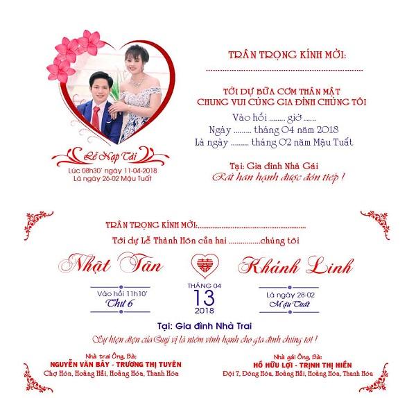 Thông tin thiệp cưới 2
