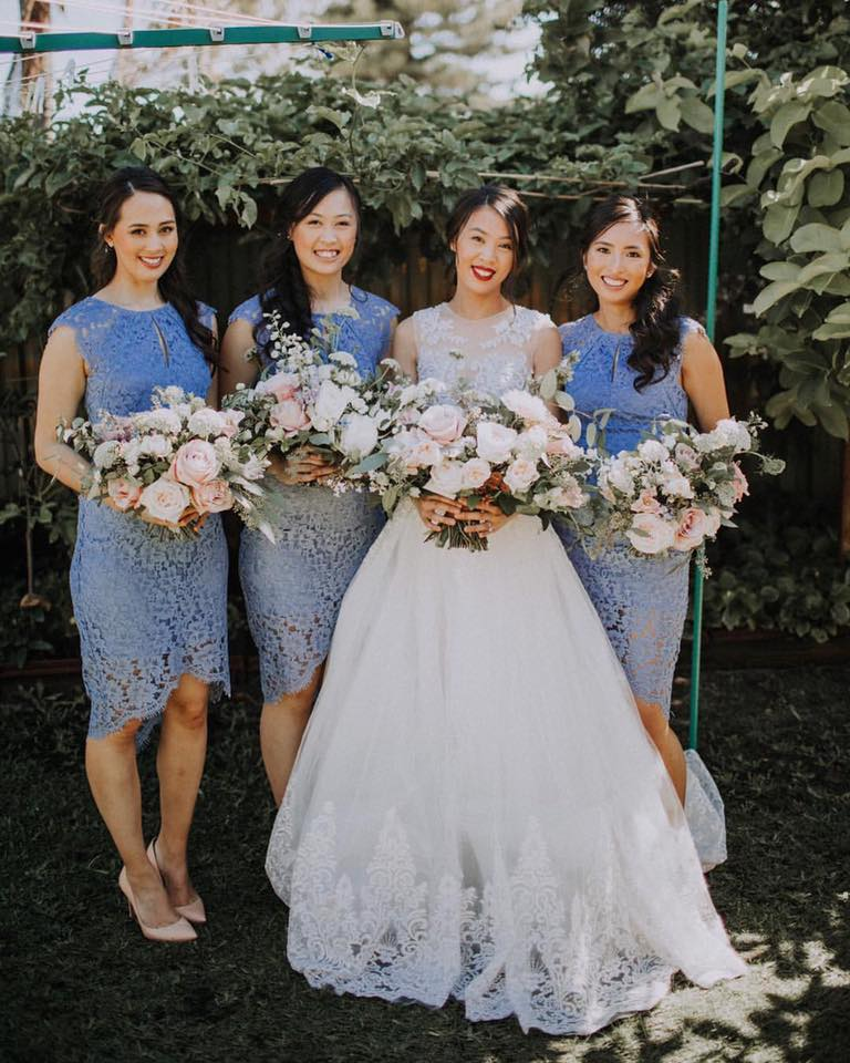 Fiona Ngo's designed dress and her memorable wedding date